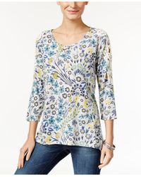 Style & Co. | Blue Printed Crochet-trim Top | Lyst