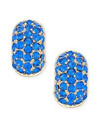 Charter Club | Metallic Gold-tone Blue Crystal Huggie Hoop Earrings | Lyst