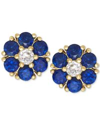 Macy's | Blue Sapphire (1-1/5 Ct. T.w.) And White Sapphire (1/6 Ct. T.w.) Flower Stud Earrings In 14k Gold | Lyst