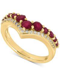 Macy's | Metallic Ruby (1-1/3 Ct. T.w.) And Diamond (1/8 Ct. T.w.) Chevron Ring In 14k Gold | Lyst