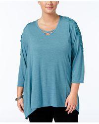 Style & Co. | Blue Plus Size Crocheted Bridge-hem Top | Lyst