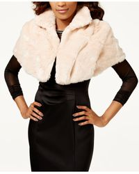 Tahari - Black Collared Faux Fur Shrug - Lyst