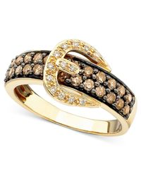 Le Vian | Brown Chocolate Diamond (3/4 Ct. T.w.) And White Diamond Accent Buckle Ring In 14k Gold | Lyst