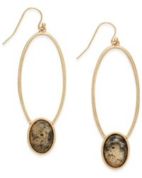 INC International Concepts | Metallic Gold-tone Oval Stone Drop Earrings | Lyst