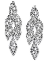 INC International Concepts - Metallic Silver-tone Crystal Leaf Drop Earrings - Lyst