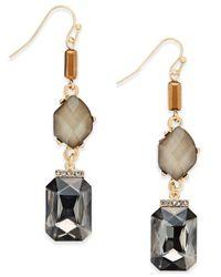 INC International Concepts | Metallic Gold-tone Stone Linear Drop Earrings | Lyst