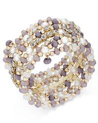 INC International Concepts | Metallic Gold-tone Beaded Coiled Wrap Bracelet | Lyst