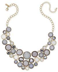 INC International Concepts | Metallic Gold-tone Gray Stone Bib Necklace | Lyst