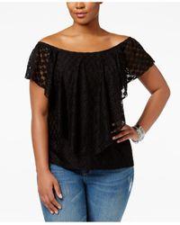 American Rag - Black Trendy Plus Size Lace Top - Lyst