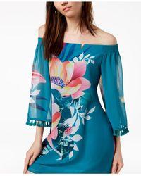 Trina Turk - Blue Amaris Floral-print Off-the-shoulder Dress - Lyst