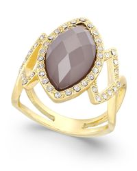INC International Concepts | Metallic Gray Stone Pavé Gold-tone Ring | Lyst