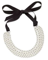 Charter Club - White Silver-tone Imitation Pearl And Ribbon Multi-strand Necklace - Lyst