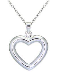 Giani Bernini | Metallic Polished Open Heart Pendant Necklace In Sterling Silver | Lyst