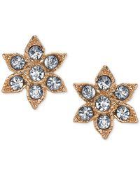 2028 | Metallic Gold-tone Crystal Flower Stud Earrings | Lyst