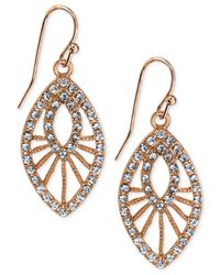 2028 | Metallic Rose Gold-tone Openwork Pavé Drop Earrings | Lyst