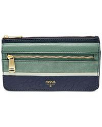 Fossil - Blue Preston Leather Flap Clutch Wallet - Lyst
