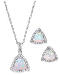 Macy's | Metallic Lab-created Opal (7/8 Ct. T.w.) And White Sapphire (1/3 Ct. T.w.) Pendant Necklace And Matching Stud Earrings In Sterling Silver | Lyst