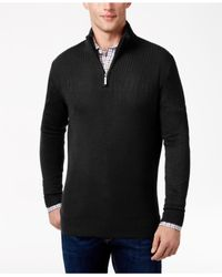 Geoffrey Beene | Black Men's Quarter-zip Drop Needle Sweater for Men | Lyst