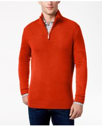 Geoffrey Beene | Orange Men's Quarter-zip Drop Needle Sweater for Men | Lyst