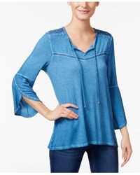 Style & Co. - Blue Tulip-sleeve Peasant Top - Lyst