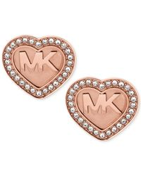 Michael Kors | Pink Rose Gold-tone Pave Logo Heart Stud Earrings | Lyst