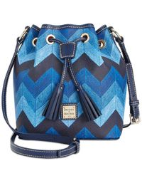 Dooney & Bourke | Blue Denim Chevron Kendall Crossbody Bucket Bag | Lyst