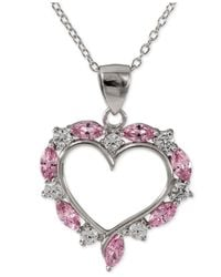 Giani Bernini | Metallic Pink And Clear Cubic Zirconia Heart Pendant Necklace In Sterling Silver | Lyst