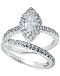 Giani Bernini | Metallic Cubic Zirconia Marquise And Pavé Ring Set In Sterling Silver | Lyst