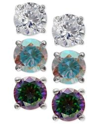 Giani Bernini | Metallic 3-pc. Set Cubic Zirconia Multi-color Stud Earrings In Sterling Silver | Lyst