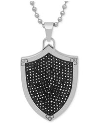 Macy's - Black Men's Diamond Shield Pendant Necklace In Stainless Steel And Rhodium Plate for Men - Lyst