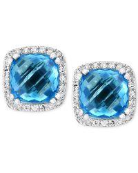 Effy Collection - Effy® Blue Topaz (4-1/3 Ct. T.w.) & Diamond (1/6 Ct. T.w.) Halo Stud Earrings In 14k White Gold - Lyst