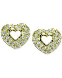 Giani Bernini | Metallic Cubic Zirconia Pavé Open Heart Stud Earrings In 18k Gold-plated Sterling Silver | Lyst