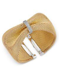 Macy's - Metallic Diamond Mesh Cuff Bracelet (1/2 Ct. T.w.) In 14k Gold-plated Sterling Silver - Lyst