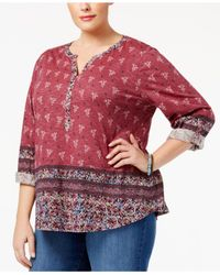 Style & Co. | Red Plus Size Split-neckline Printed Peasant Top | Lyst
