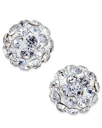 Macy's Metallic Crystal Stud Earrings In 10k Gold