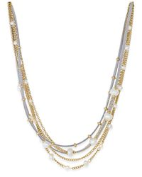 INC International Concepts | Metallic Gold-tone Five-row Mixed-media Necklace | Lyst