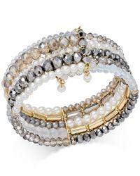 INC International Concepts | Metallic Bead Imitation Pearl Gold-tone Multi-row Cuff Bracelet | Lyst