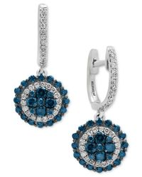 Effy Collection - Multicolor Diamond Disc Drop Earrings (1-1/4 Ct. T.w.) In 14k White Gold - Lyst