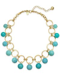 Kate Spade   Blue Gold-tone Colored Bead Statement Necklace   Lyst