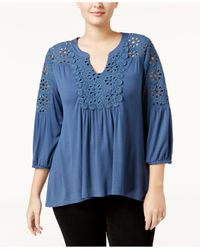 Style & Co. | Blue Plus Size Eyelet-trimmed Peasant Top | Lyst