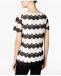 Charter Club | Black Striped Lace Top | Lyst
