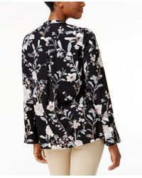 Charter Club - Black Floral Tie-neck Blouse - Lyst