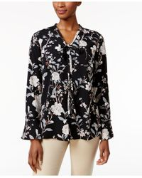 Charter Club | Black Floral Tie-neck Blouse | Lyst