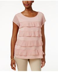 Charter Club - Multicolor Tiered Sheer-sleeve Top - Lyst