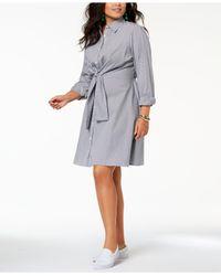 Soprano - Multicolor Trendy Plus Size Cotton Tie-waist Shirtdress - Lyst