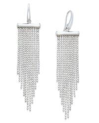 Macy's | Metallic Multi-strand Beaded Chandelier Earrings In Sterling Silver | Lyst
