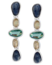 Robert Lee Morris | Metallic Silver-tone Multi-stone Linear Drop Earrings | Lyst