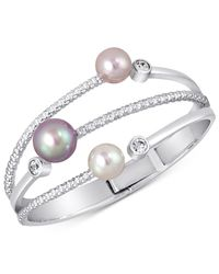 Majorica | Metallic Silver-tone Colored Imitation Pearl Statement Ring | Lyst