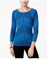 Joseph A - Blue Ribbed Knit Sweater - Lyst
