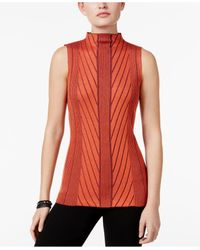 Joseph A | Red Mock-neck Ribbed-knit Sweater | Lyst